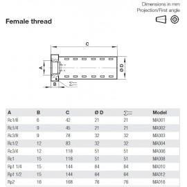 MA00 Belső menetes nehézüzemű hangtompító